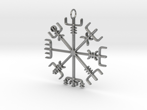 Vegvísir Pendant in Natural Silver