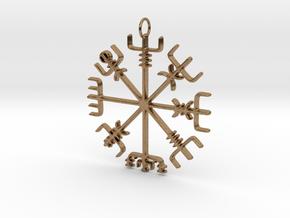 Vegvísir Pendant in Natural Brass
