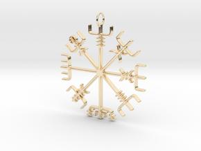 Vegvísir Pendant in 14k Gold Plated Brass