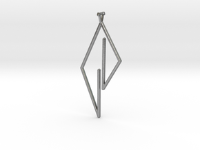 Triangle Pendant with triangle bail in Natural Silver