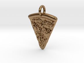 Pizza Pendant in Natural Brass