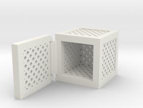 Hinged Box (Square) in White Natural Versatile Plastic