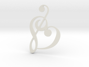 Heart Clef Pendant in White Natural Versatile Plastic