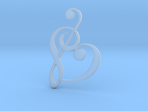 Heart Clef Pendant in Smooth Fine Detail Plastic