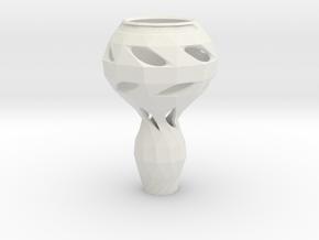 Geometrically Organic Vase in White Natural Versatile Plastic