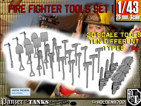 1-43 Firemen Tools Set 1 in Smooth Fine Detail Plastic
