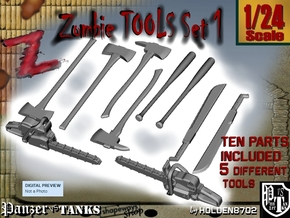1-24 Zombie Tools Set 1 in Smooth Fine Detail Plastic