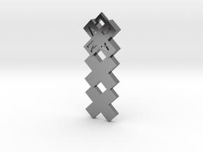Amsterdammertje kruizen kettinghanger in Fine Detail Polished Silver
