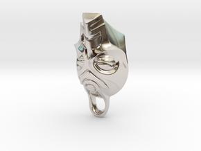 Dragon Priest Mask KeyChain in Rhodium Plated Brass