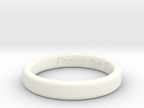 "Dark Souls ""Praise the Sun"" Engraved Ring-Size 12 in White Processed Versatile Plastic"