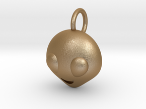 Dime Sized Emoji Alien in Matte Gold Steel