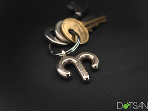 Aries Symbol Keychain in Polished Bronzed Silver Steel