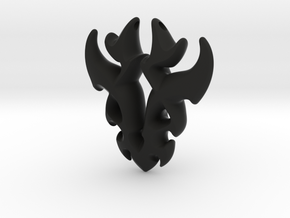 Antler Pendant in Black Natural Versatile Plastic