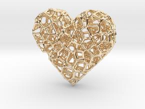 Voronoi Heart pendant (version 2) in 14k Gold Plated Brass