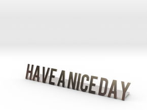 Have a nice day desk business logo 1 in Rhodium Plated Brass