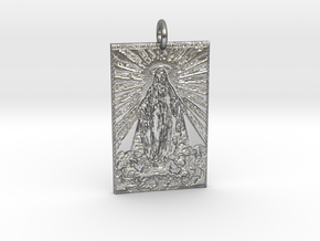 Holy Mother Pendant in Natural Silver