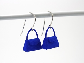 Purse Earrings in Blue Processed Versatile Plastic