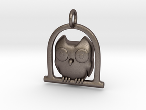 Owl Pendant in Polished Bronzed Silver Steel