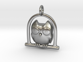 Owl Pendant in Natural Silver