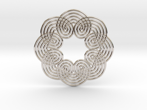 0560 Motion Of Points Around Circle (5cm) #037 in Rhodium Plated Brass