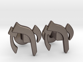 "Hebrew Monogram Cufflinks - ""Yud Zayin Reish"" in Polished Bronzed Silver Steel"