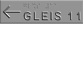 GLEIS 11 mit Pfeil nach links in Polished Metallic Plastic