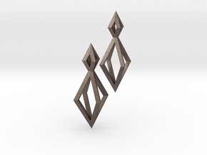 Double Diamond Earrings in Polished Bronzed Silver Steel