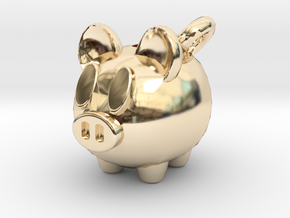 Piggy Bank Keychain Charm in 14k Gold Plated Brass