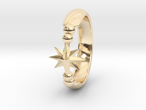Ring of Star 15.7mm size 5  in 14k Gold Plated Brass