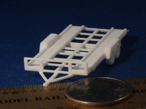Car Trailer HO Scale in White Natural Versatile Plastic