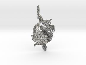 2Koi Pendant in Natural Silver