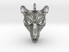 Thylacine (tasmanian tiger) Pendant in Natural Silver