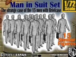 1/72 Man In Suit W/ Briefcase Set in Smooth Fine Detail Plastic