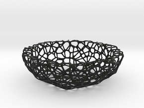 Fruit bowl (22 cm) - Voronoi-Style #1  in Black Strong & Flexible