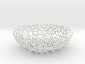 Fruit bowl (34 cm) - Voronoi-Style #1 in White Natural Versatile Plastic