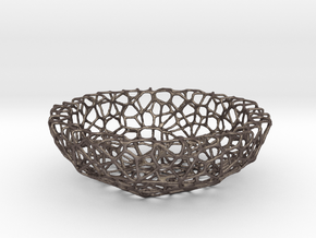 Fruit bowl (34 cm) - Voronoi-Style #1 in Polished Bronzed Silver Steel