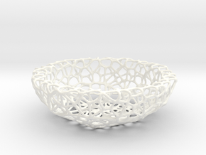 Little Bowl (15 cm) - Voronoi-Style #4 in White Processed Versatile Plastic