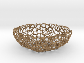 Mini Key shell / bowl (8 cm) - Voronoi-Style #1 in Natural Brass