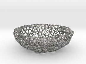 Mini Key shell / bowl (9 cm) - Voronoi-Style #5 in Natural Silver