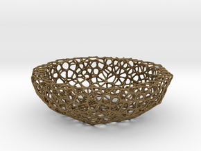 Mini Key shell / bowl (9 cm) - Voronoi-Style #5 in Natural Bronze