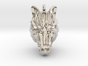 Zebra Pendant in Rhodium Plated Brass