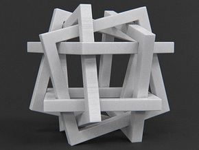 Orderly Tangle 01 - Six Hollow Squares in White Processed Versatile Plastic