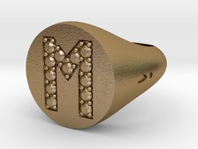 "Ring Chevalière Initial ""M""  in Polished Gold Steel"