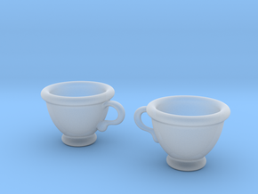 Coffee Cups Earrings in Smooth Fine Detail Plastic