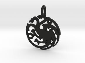 Targaryen Sigil Keychain in Black Natural Versatile Plastic