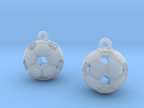 Soccer Balls Earrings in Smooth Fine Detail Plastic