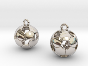 Soccer Balls Earrings in Rhodium Plated Brass