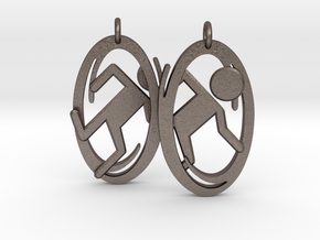 Portal Earrings in Polished Bronzed Silver Steel