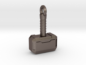 Mjolnir Keychain in Polished Bronzed Silver Steel