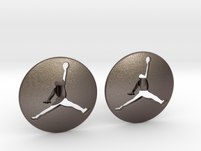 Jumpman Cufflinks v3 in Polished Bronzed Silver Steel